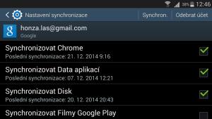 Google účet - nastavení synchronizace
