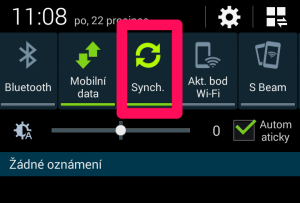 Zapnutí/vypnutí synchronizace v oznamovacím panelu