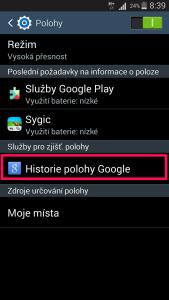 přístup do historie polohy Google
