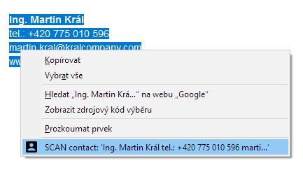 Označení textu s kontaktem a použití rozšíření prohlížeče